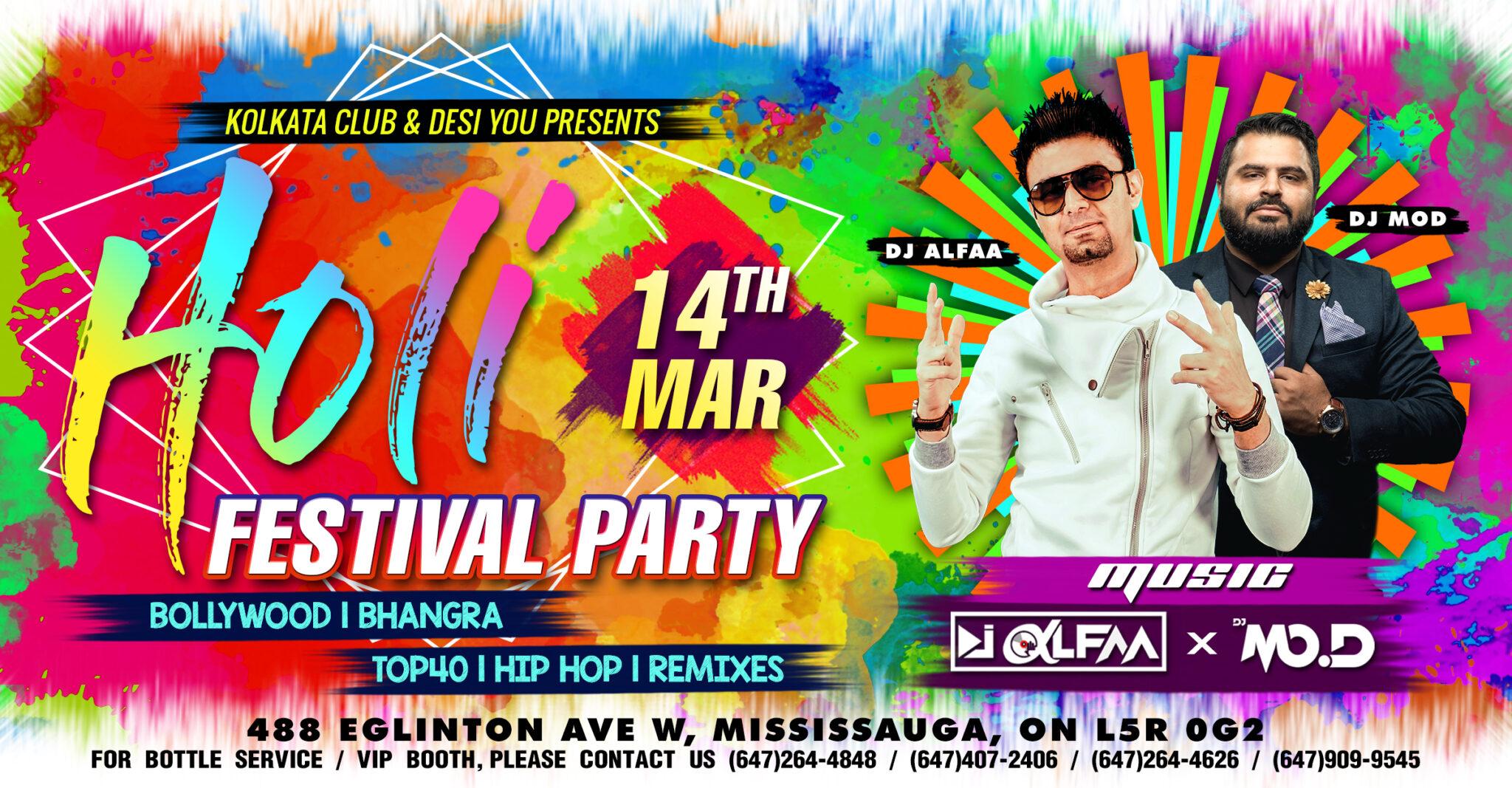 Holi Festival Party in Mississauga Toronto Kolkata Club with DJ Alfaa